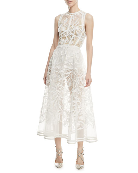 Sleeveless Fit-and-Flare Yarn-Embroidered Tulle Midi Cocktail Dress