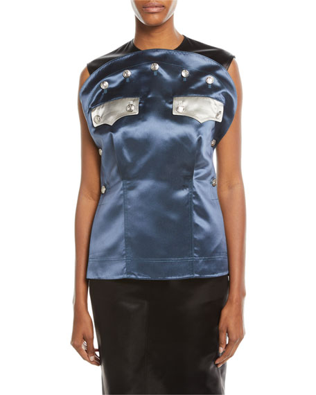 CALVIN KLEIN 205W39NYC Sleeveless Bicolor Satin Blouse with