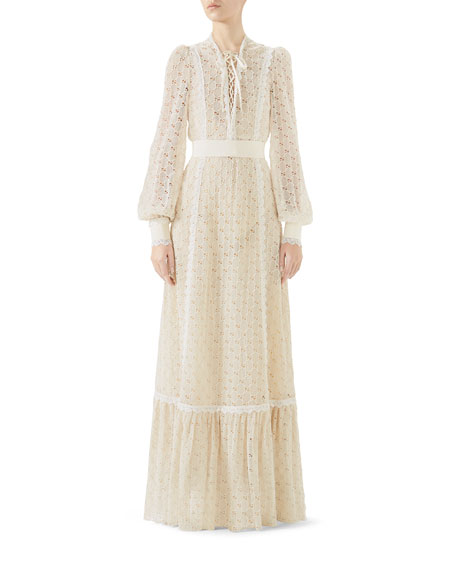 Lace-Up Long-Sleeve Macramé Long Dress
