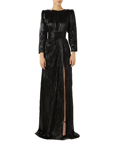 Long-Sleeve Drape Satin Duchess Evening Gown