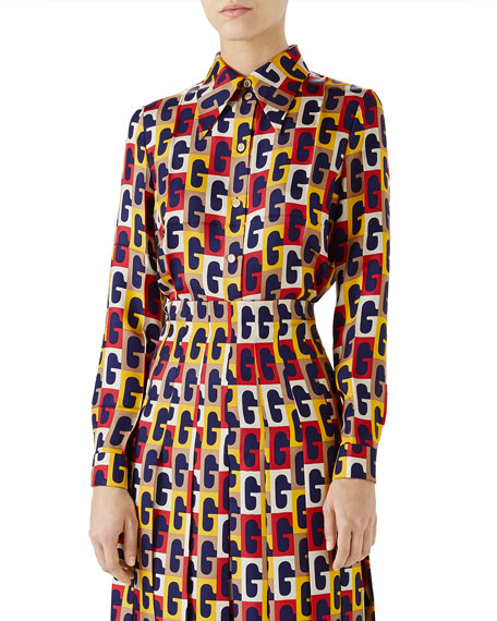 Gucci G-Sequence Long-Sleeve Button-Down Silk Shirt and Matching