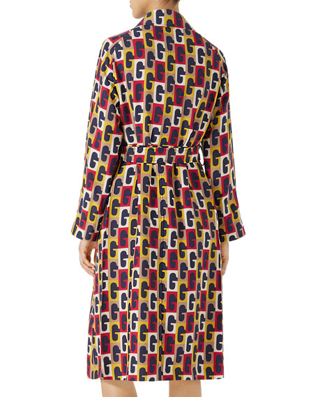 G Sequence Printed Silk Belted Coat
