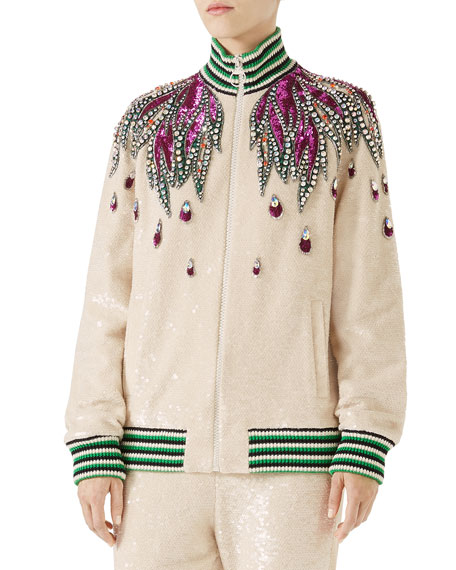 Gucci Long-Sleeve Sequin Embroidered Bomber Jacket w/ Jewel
