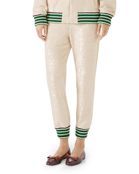 Sequin Embroidered Jersey Jogger Pants