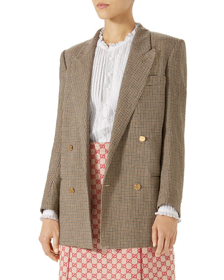Double-Breasted Micro-Houndstooth Linen Jacket