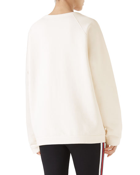 Light Felted Cotton Sweatshirt w/ Gucci Cities on Front