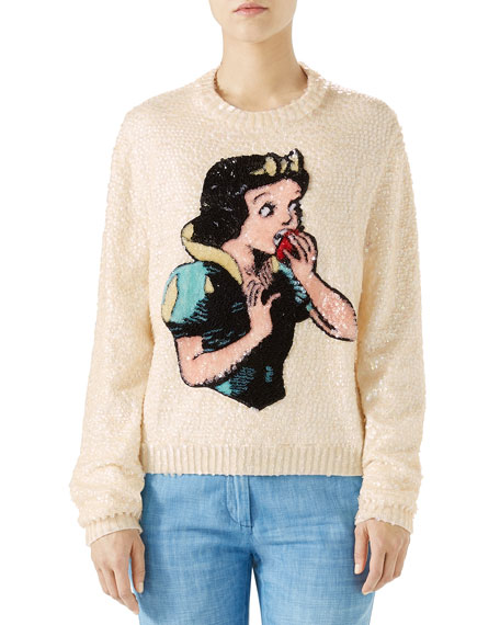 Snow White Sequin Wool Knit Sweater