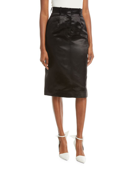 A-Line Mid-Calf Satin Skirt