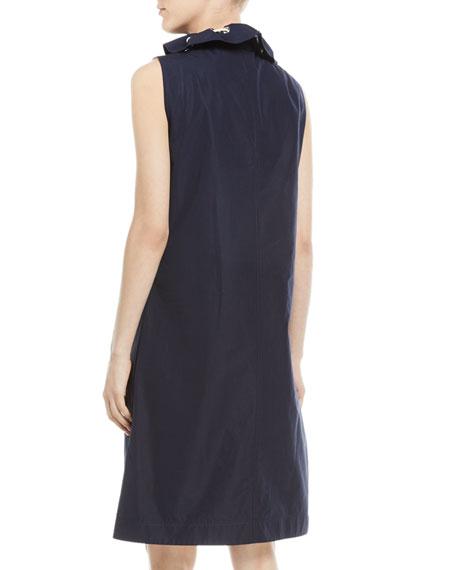 Sleeveless Drawstring Stand-Neck A-Line Cotton Dress