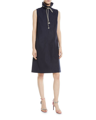 Sleeveless Drawstring Stand-Neck A-Line Cotton Dress