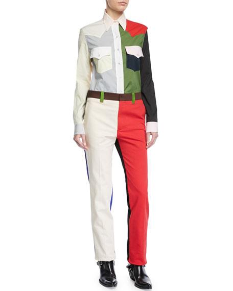 Colorblock Straight-Leg Cotton Pants