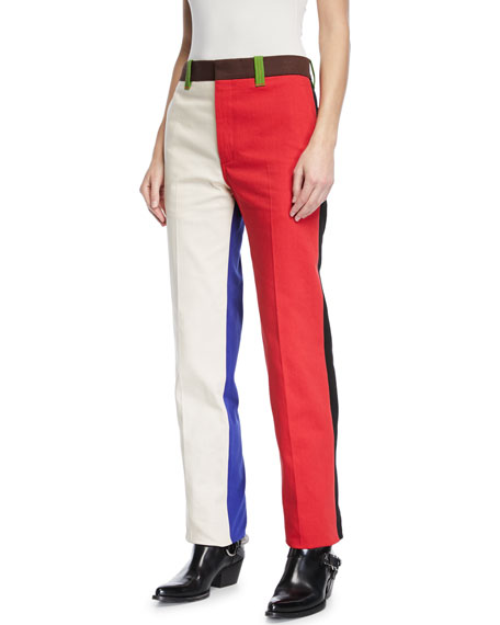 colorblock straight leg cotton pants