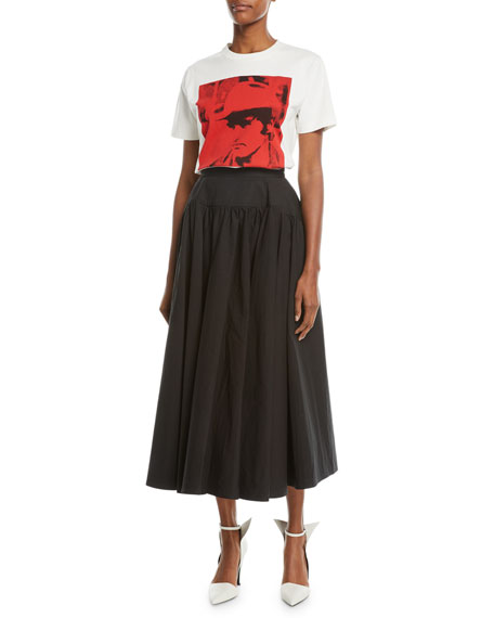 Drop-Waist Cotton Long Full Skirt