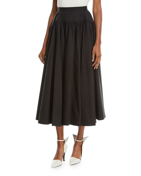 CALVIN KLEIN 205W39NYC Drop-Waist Cotton Long Full Skirt