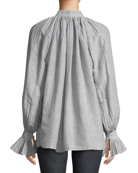 Striped Linen Button-Down Blouse