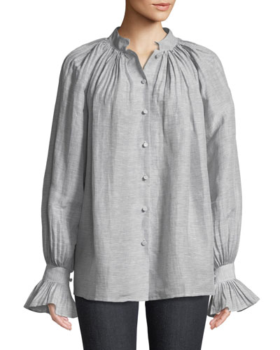 Striped Linen Button-Down Blouse