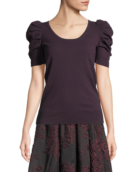 Pouf-Sleeve Scoop-Neck Merino Wool Pullover Sweater