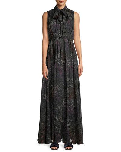 Tie-Neck Sleeveless Floral-Print Silk Chiffon Evening Gown