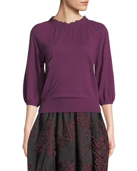 Scallop-Neck 3/4-Sleeve Fine Cashmere Knit Top