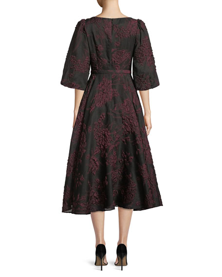 Bubble-Sleeve Belted Floral-Jacquard Cocktail Dress