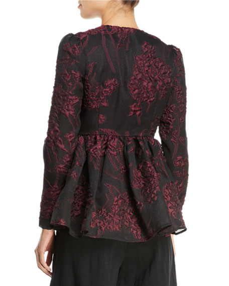 Floral-Jacquard Collarless Peplum Jacket
