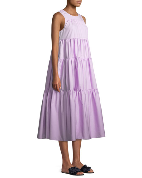 Sleeveless Tiered Long Japanese Cotton Dress