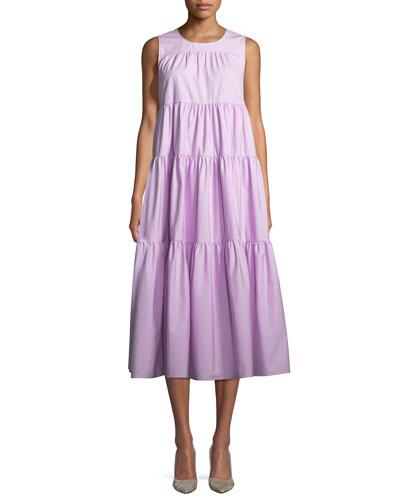 Sleeveless Tiered Long Japanese Cotton Dress