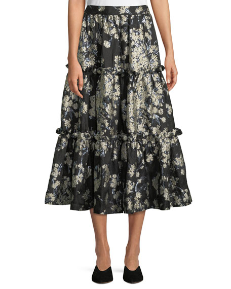 Metallic Floral-Brocade Tiered Evening Skirt