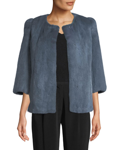Collarless 3/4-Sleeve Mink Jacket