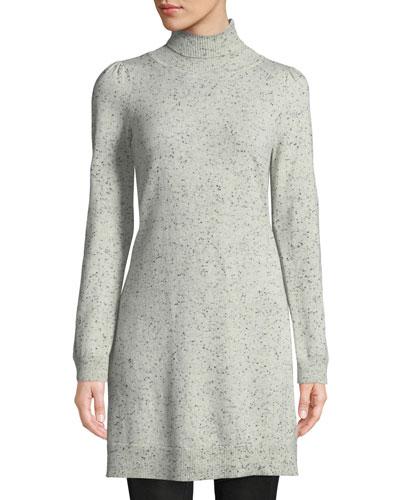 Turtleneck Long-Sleeve Side-Slit Speckle Cashmere Tunic