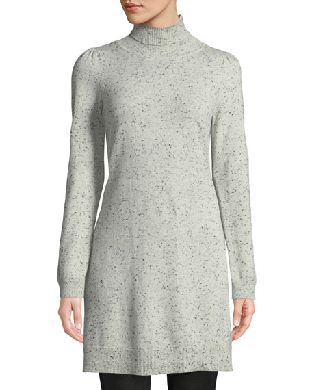 Turtleneck Long-Sleeve Side-Slit Speckle Cashmere Tunic