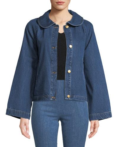 Peter Pan Collar Button-Front A-Line Denim Jacket