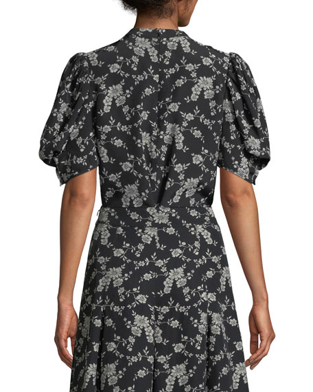 Short Balloon Sleeve Floral-Print Gabardine Blouse