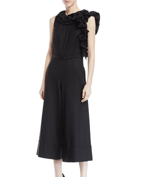 Sleeveless Asymmetric Ruffle-Neck Wide-Leg Crop Jumpsuit