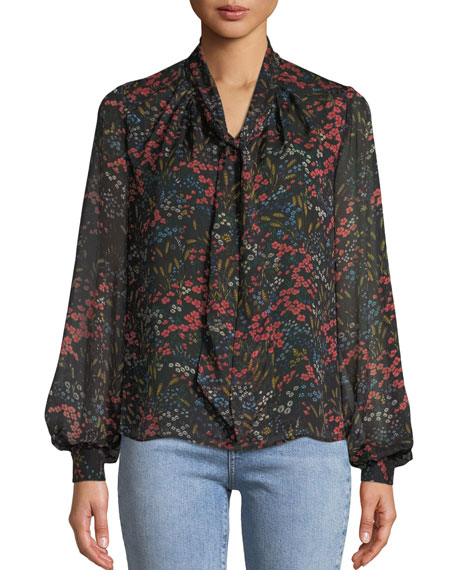 Co Long-Sleeve Tie-Neck Floral-Print Silk Chiffon Blouse and