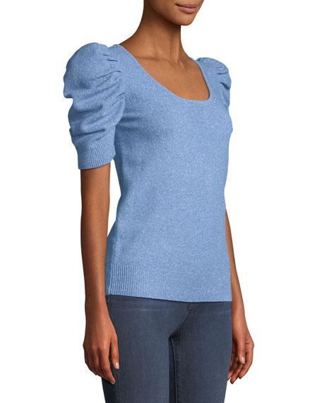 Short-Sleeve Scoop-Neck Metallic-Knit Pullover Sweater