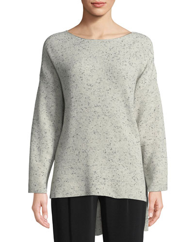 Boat-Neck Long-Sleeve Speckle High-Low Cashmere Sweater