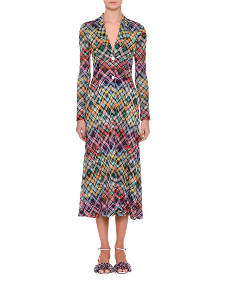 Missoni Rainbow Check Knit Coat Dress and Matching
