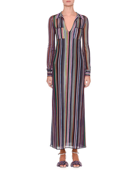 Long-Sleeve Striped Shirtdress