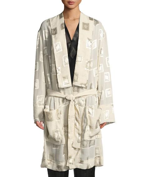 Block-Print Devoré Belted Coat
