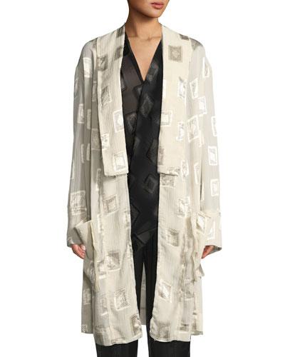 Block-Print Devore Belted Coat