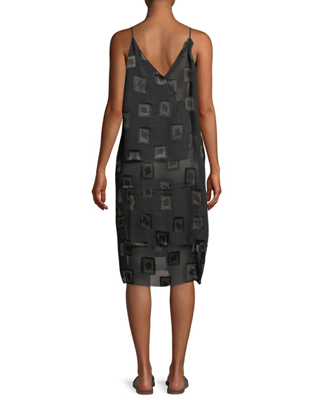 V-Neck Block-Print Devoré Shift Dress