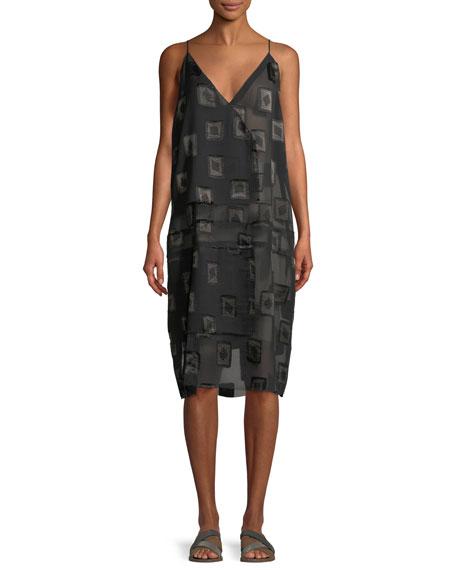 URBAN ZEN V-Neck Block-Print Devore Shift Dress in Black/Brown