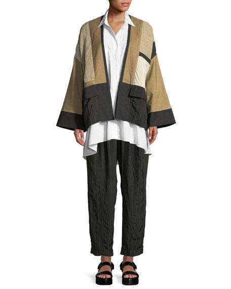 Linen-Blend Patchwork Kimono Jacket