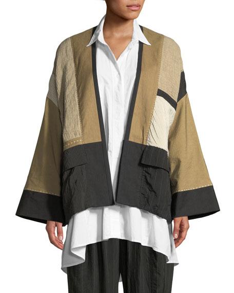 URBAN ZEN Linen-Blend Patchwork Kimono Jacket in Black