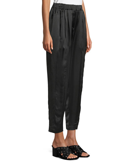Satin Crepe Crop Pull-On Pants