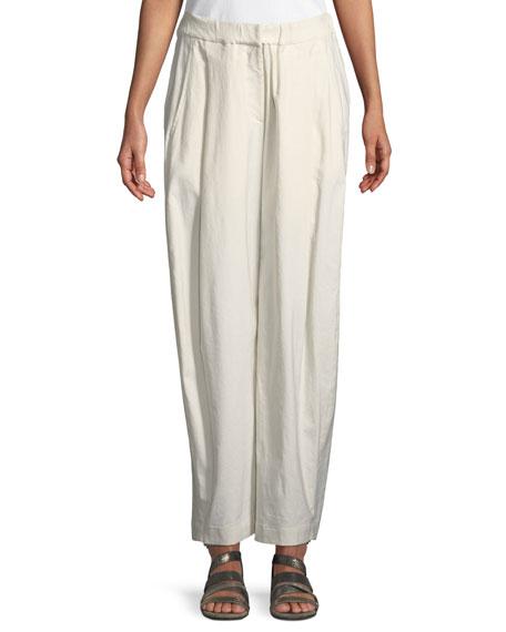 Sculpted Wide-Leg Linen-Blend Trousers