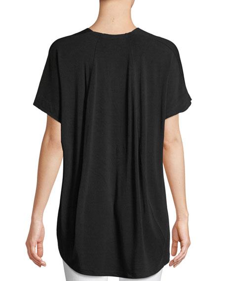 V-Neck Short-Sleeve High-Low Jersey Top