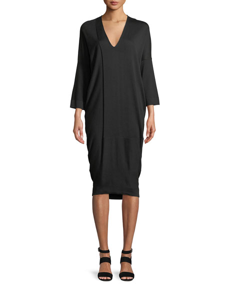 V-Neck 3/4 Sleeve Jersey Midi Dress