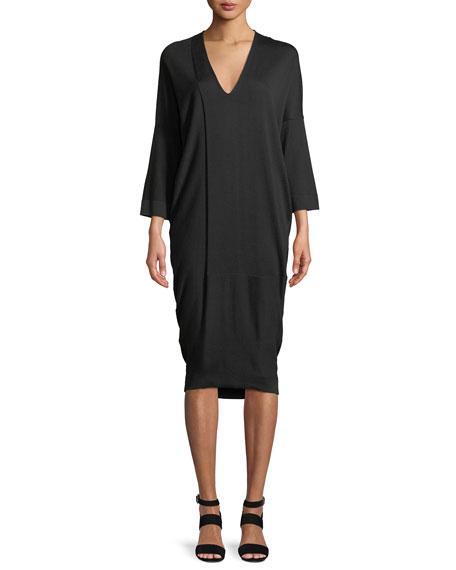 URBAN ZEN V-Neck 3/4 Sleeve Jersey Midi Dress in Black
